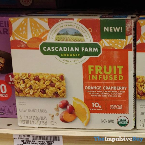 Cascadian Farm Orange Cranberry Fruit Infused Chewy Granola Bars