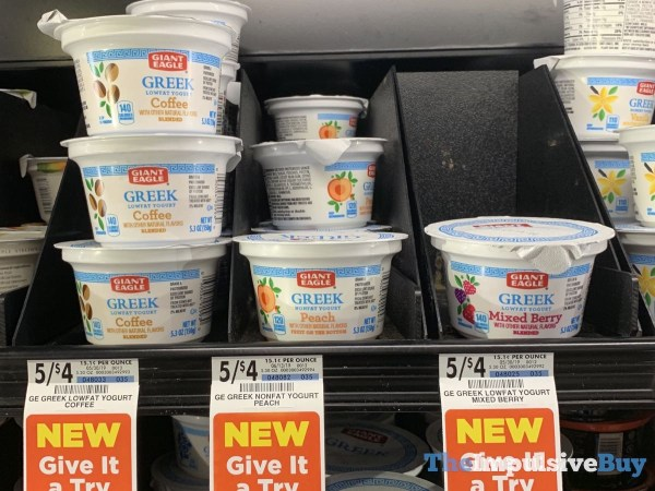 Giant Eagle Greek Lowfat and Nonfat Yogurt  Coffee Peach and Mixed Berry