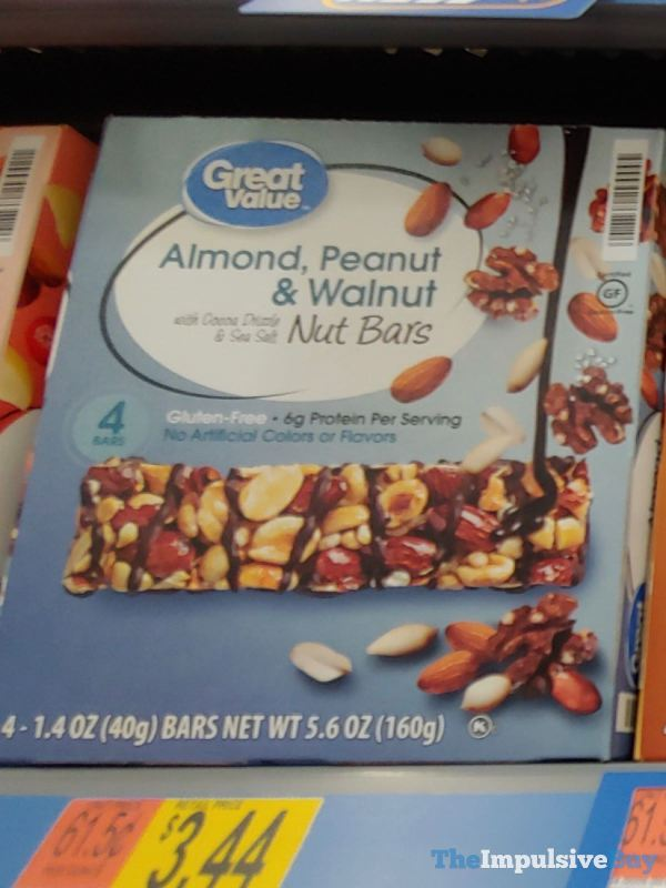 Great Value Almond Peanut  Walnut Nut Bars