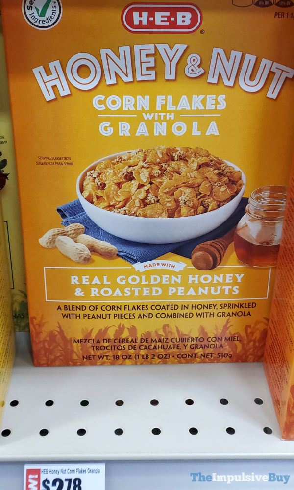 H E B Honey  Nut Corn Flakes with Granola