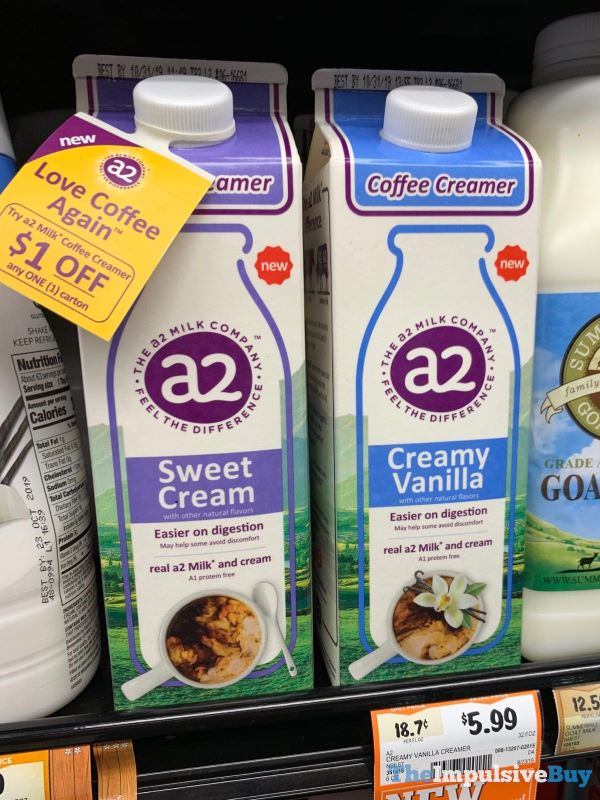 A2 Sweet Cream and Creamy Vanilla Coffee Creamer