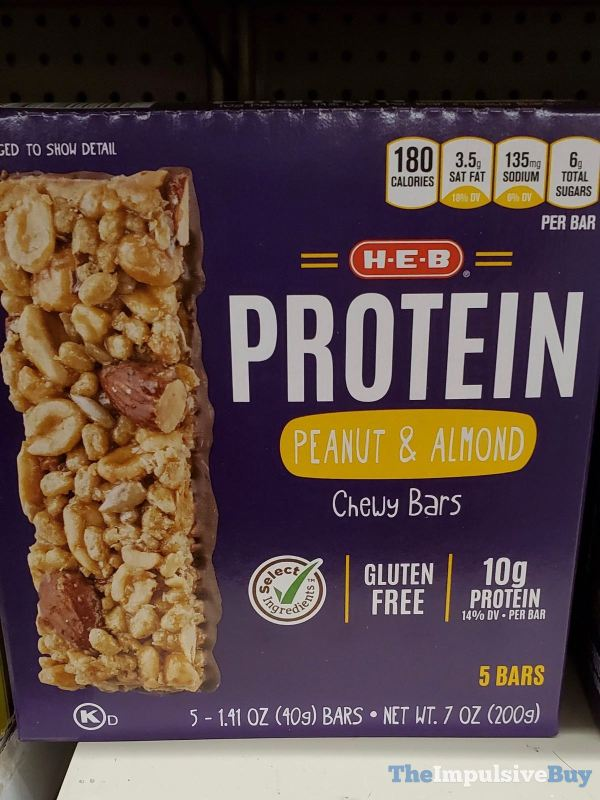 H E B Protein Peanut  Almond Chewy Bars