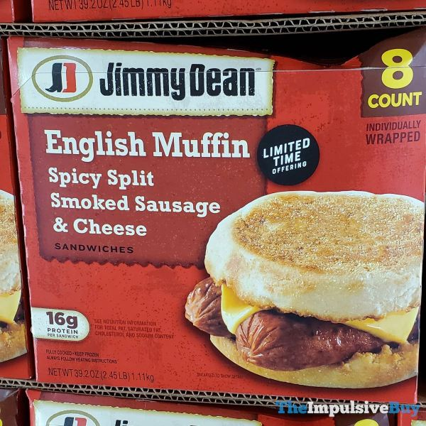 Jimmy Dean English Muffin Spicy Split Smoked Sausage Cheese Sandwiches