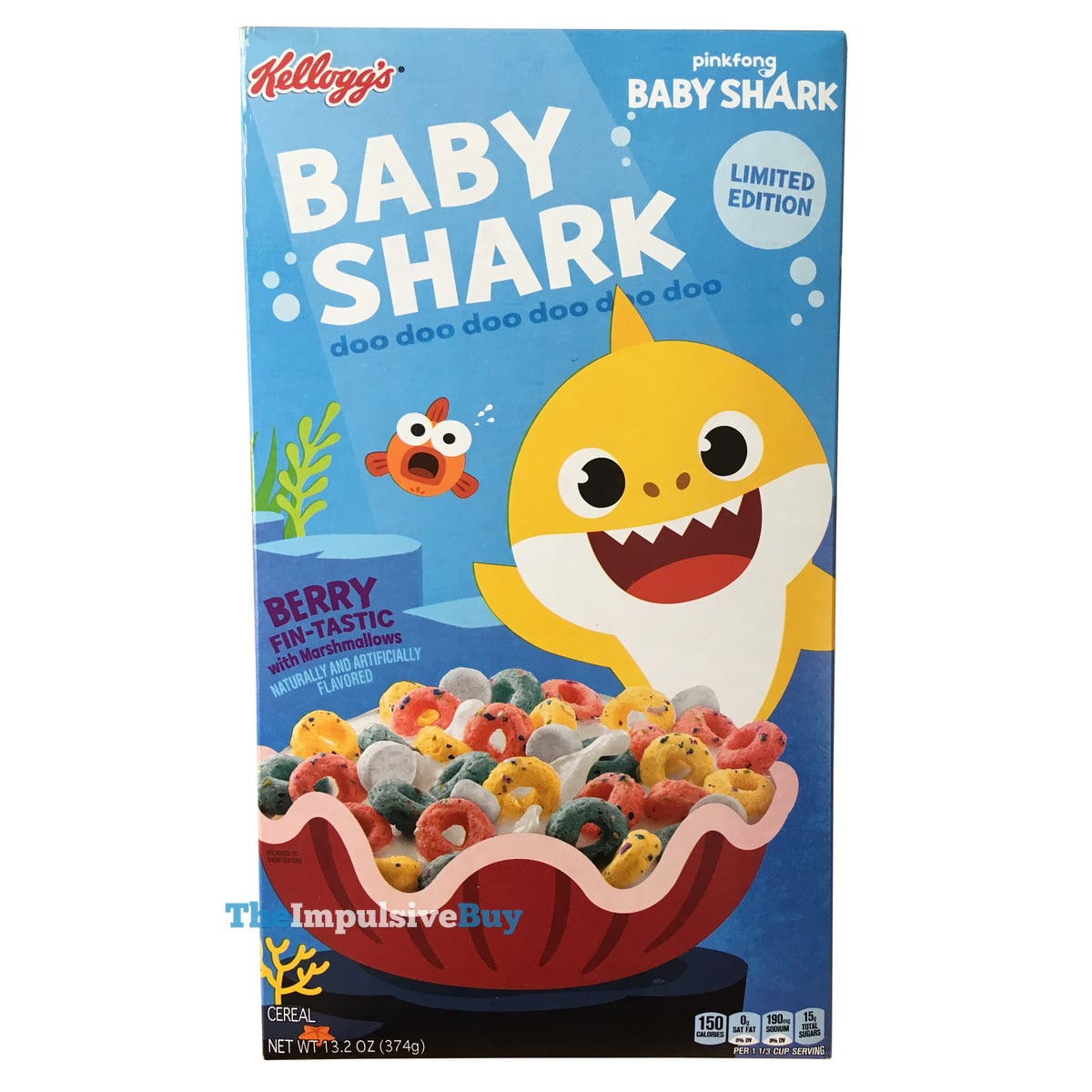 KELLOGG/'S BABY SHARK CEREAL Berry flavored loops 13.2oz LIMITED EDITION