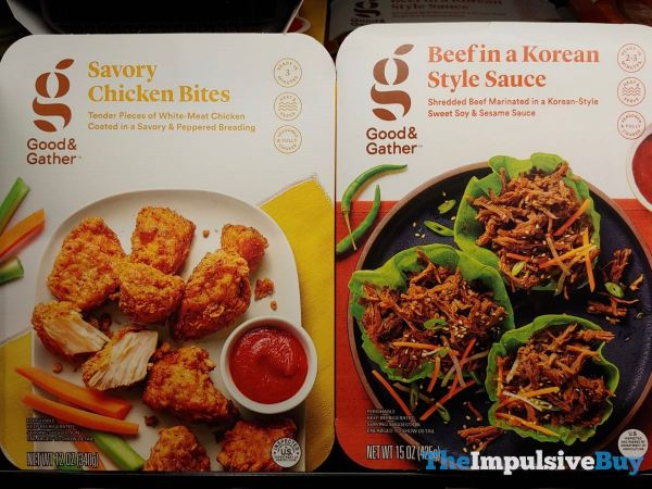 Good  Gather Savory Chicken Bites and Beef in a Korean Style Sauce
