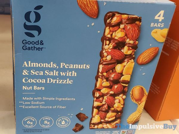 Good  Gather Almonds Peanuts  Sea Salt with Cocoa Drizzle Nut Bars
