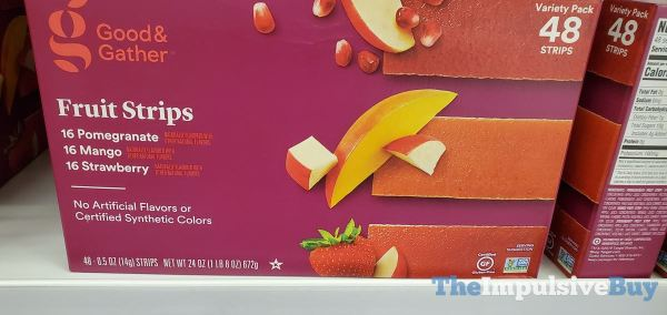 Good  Gather Fruit Strips Variety Pack  Pomegrante Mango and Strawberry