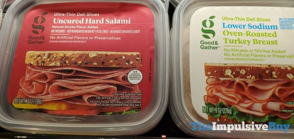 Good  Gather Ultra Thin Deli Slices Uncured Hard Salami and Lower Sodium Oven Roasted Turkey Breast