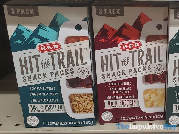 H E B Hit the Trail Snack Packs  Almond Beef Jerky  Sunflower Kernels and Almond Spicy Thai Turkey Jerky and Dried Pineapple