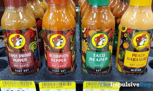 Buc ee s Hot Sauces  7 Pot Primo Pepper Scorpion Pepper Taco Reaper and Peach Habanero
