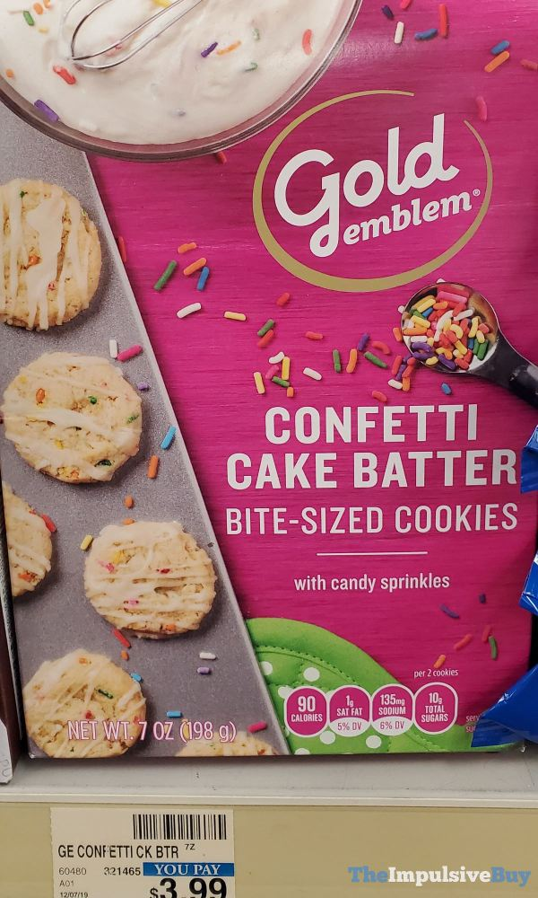 Gold Emblem Confetti Cake Batter Bite Sized Cookies