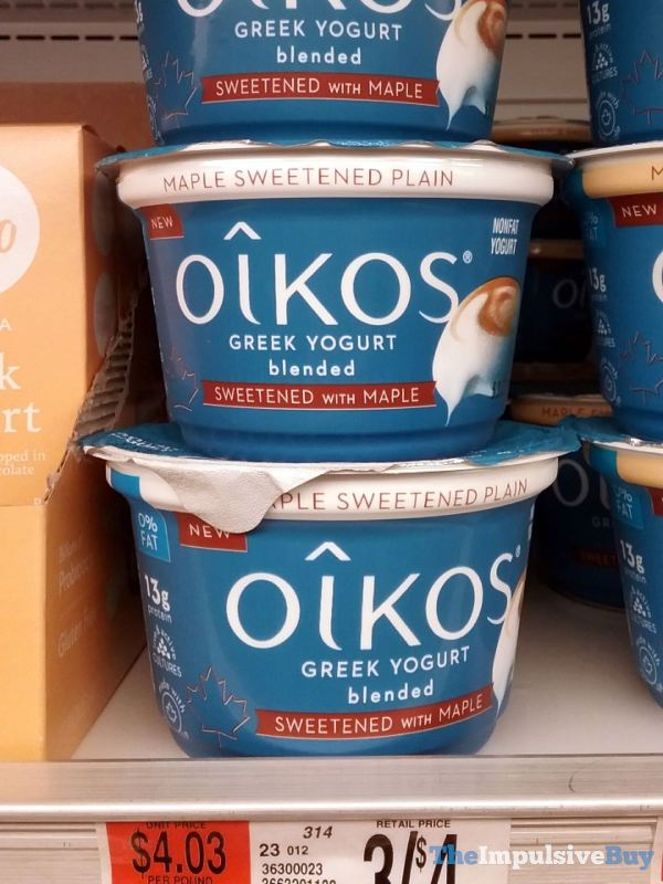 Oikos Maple Sweetened Plain Blended Greek Yogurt