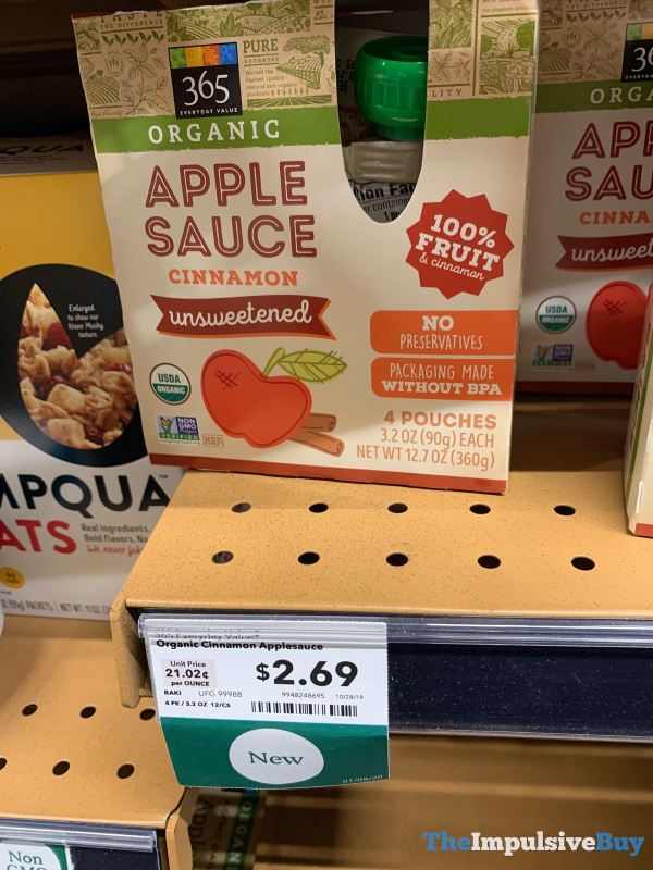 365 Everyday Value Organic Cinnamon Unsweetened Apple Sauce