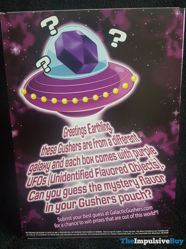 Limited Edition Galactic Fruit Gushers Mystery Flavor Back