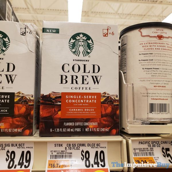 Starbucks Cold Brew Coffee Single Serve Concentrate Caramel Dolce