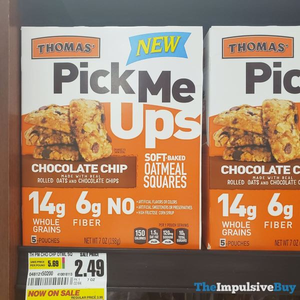 Thomas Pick Me Ups Chocolate Chip Soft Baked Oatmeal Squares