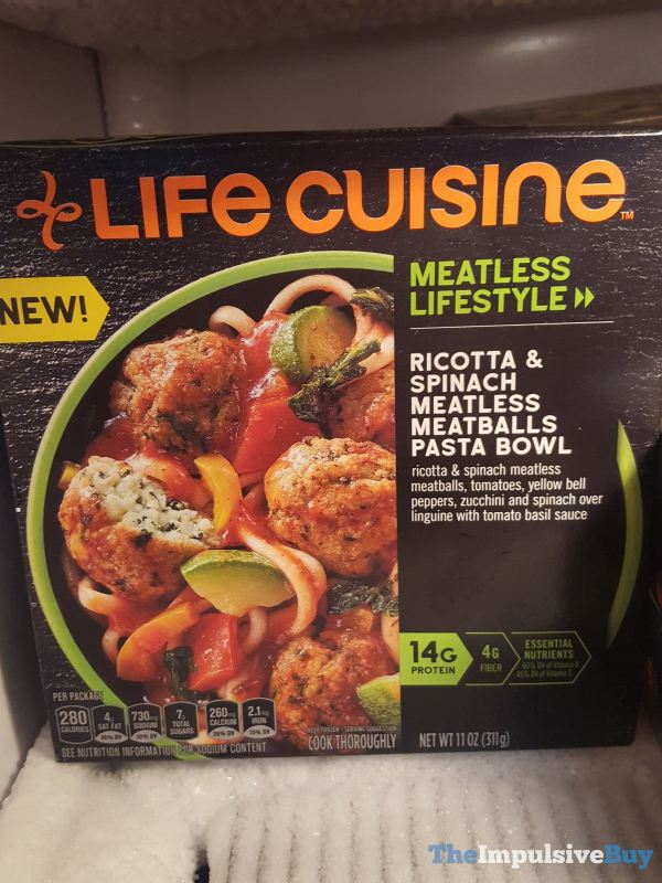 Life Cuisine Ricotta  Spinach Meatless Meatballs Pasta Bowl