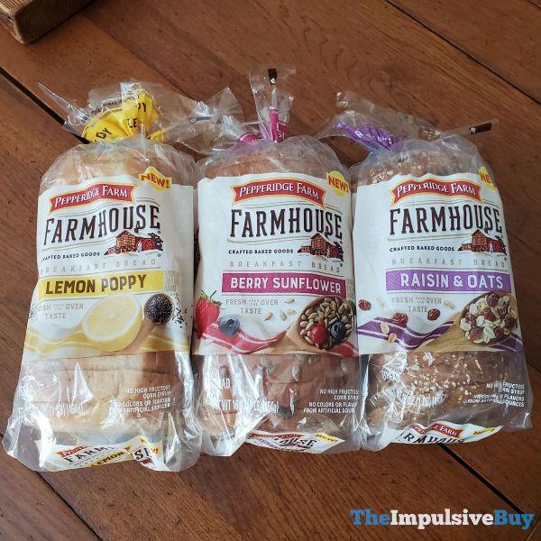 Pepperidge Farm Farmhouse Breakfast Breads  Lemon Poppy Berry Sunflower and Raisin  Oats