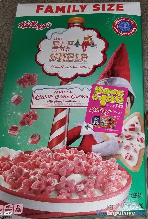 Kellogg s The Elf on the Shelf Vanilla Candy Cane Cookie with Marshmallows Cereal