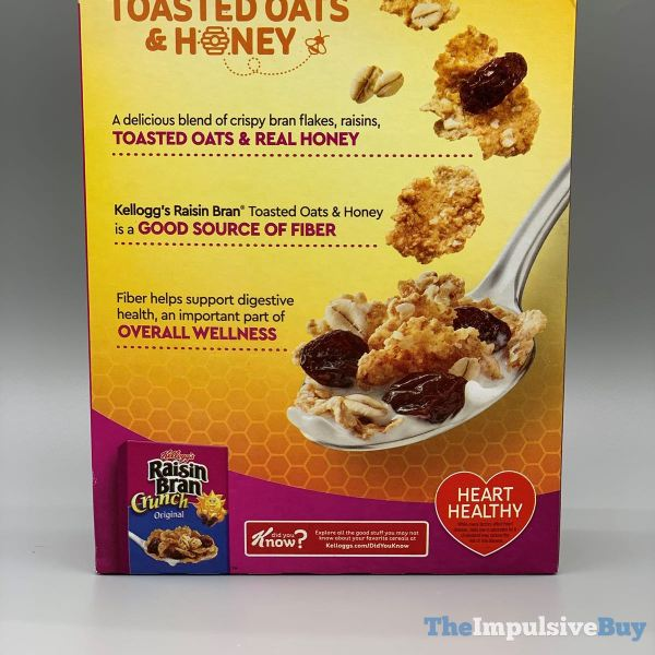 Kellogg s Raisin Bran Toasted Oats  Honey Cereal Back