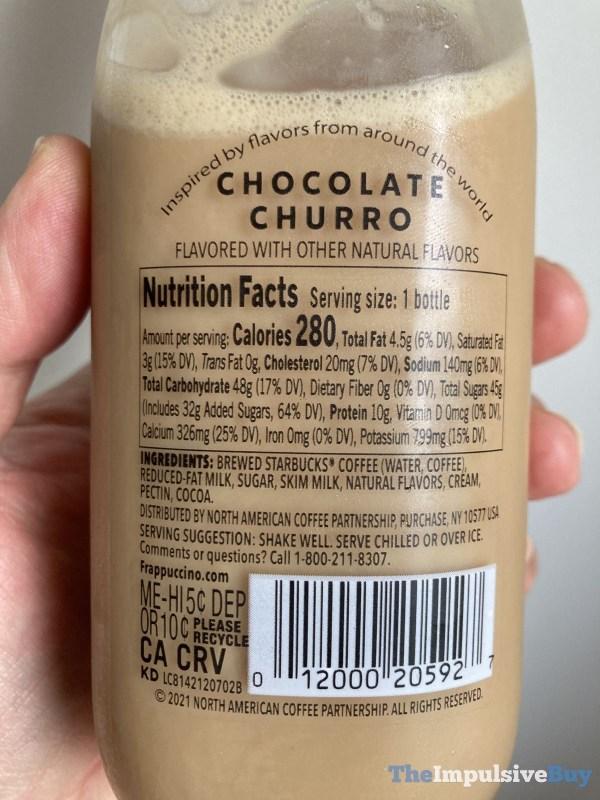 Starbucks Frappuccino Passport Series Chocolate Churro Back