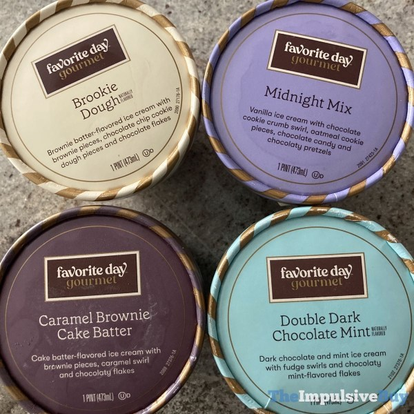 Favorite Day Gourmet Ice Cream  Brookie Dough Midnight Mix Caramel Brownie Cake Batter and Double Dark Chocolate Mint