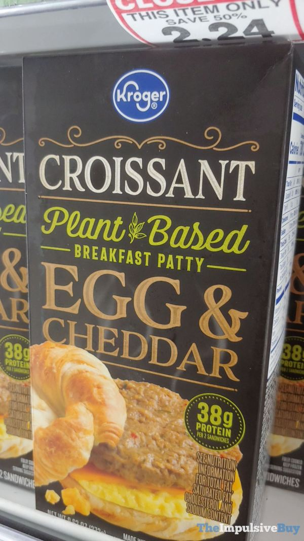 Kroger Croissant Plant Based Breakfast Patty Egg  Cheddar Breakfast Sandwich