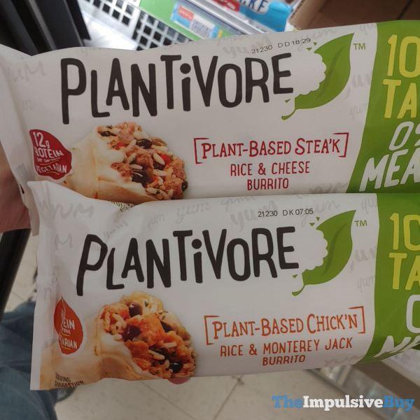 Plantivore Plant Based Stea k Rice  Cheese Burrito and Plant Based Chick n Rice  Monterey Jack Burrito