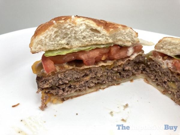 Jack in the Box Bacon Cheddar Loaded Cheeseburger Split