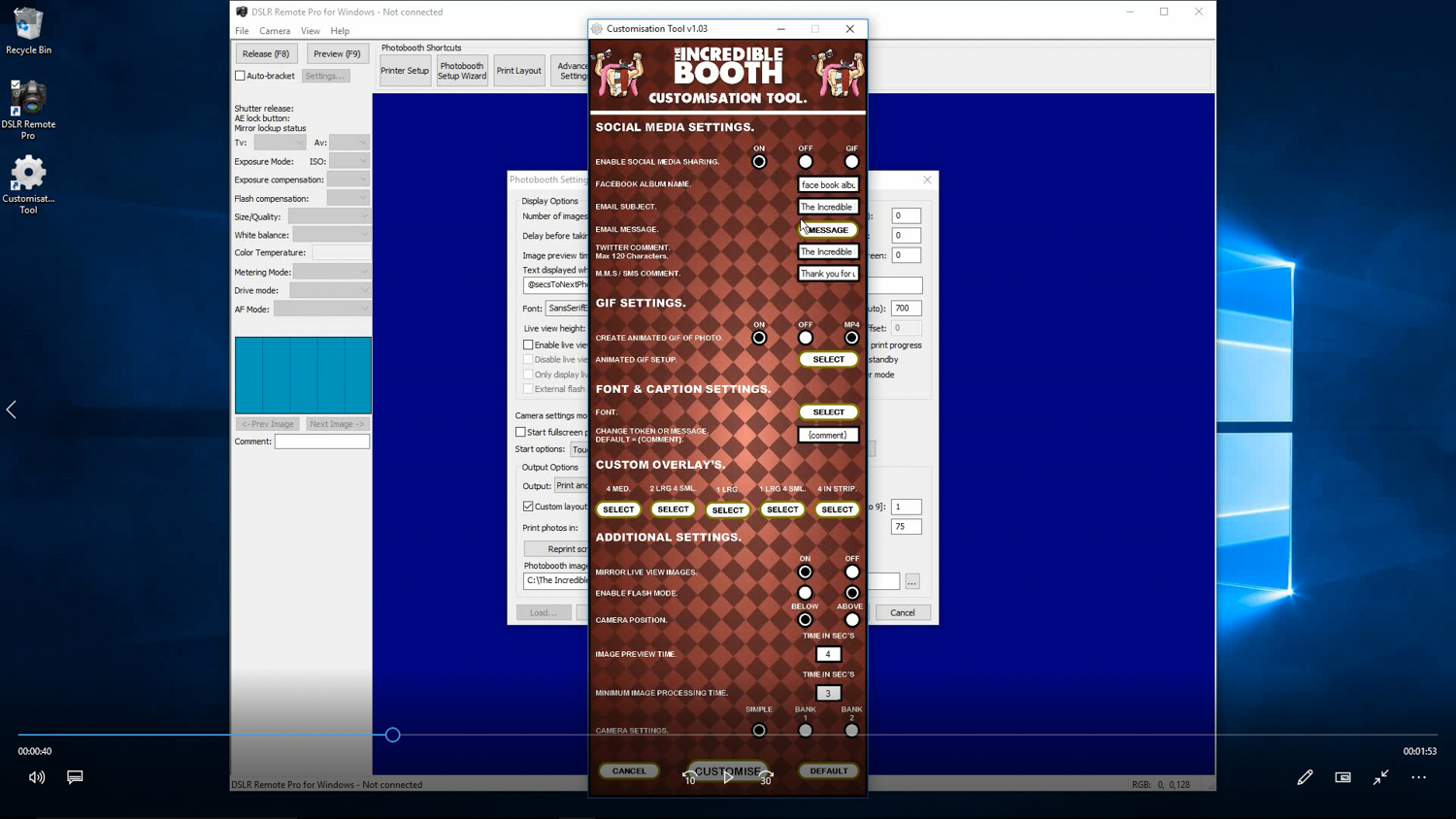 The Incredible Booth customisation tool