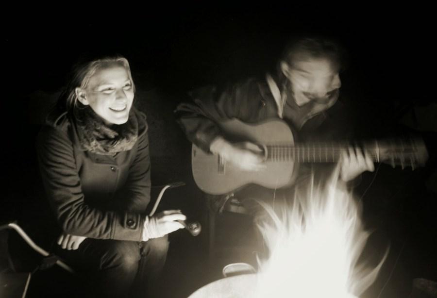 Enjoying the fire. Photo by Kat Catowski