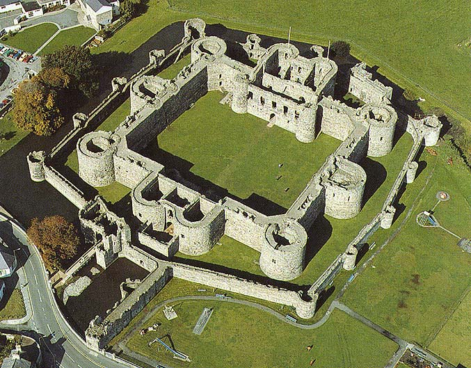 An aerial view of Beaumaris Castle, Wales