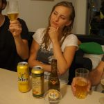 The serious business of beer-tasting.