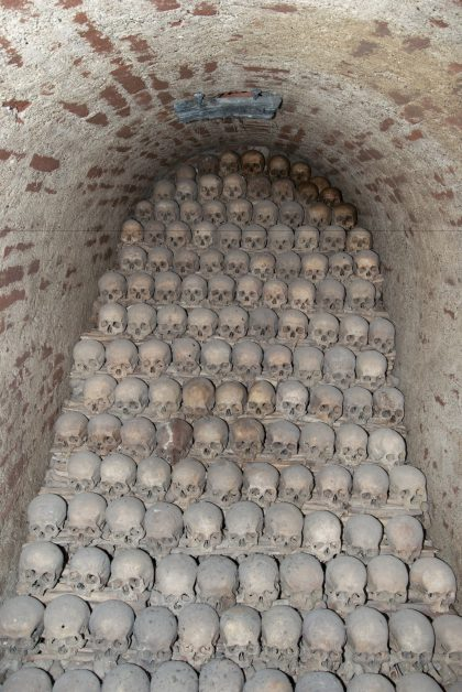 A Mountain of Skulls in Brno's Ossuary