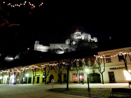 Trencin Castle at night, Slovakia