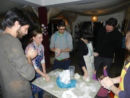 Making gnocci for Pasta Night, Cluj-Napoca, Romania
