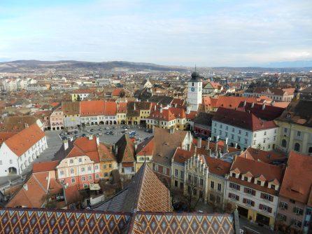 View of Piata Mica, Sibiu, Romania