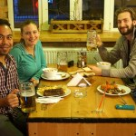 Eduardo, Ashleigh, Nathanael, and Dustin having a litre in Brasov