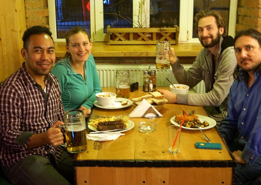 Eduardo, Ashleigh, Nathanael, and Dustin having a litre in Brasov
