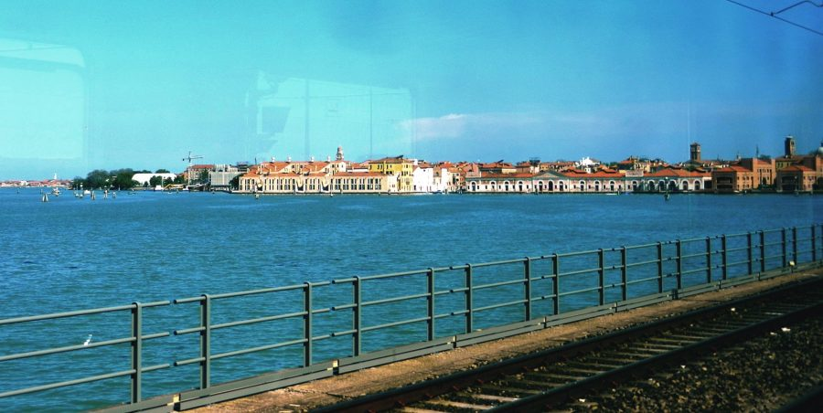 Venice from the train, Italy