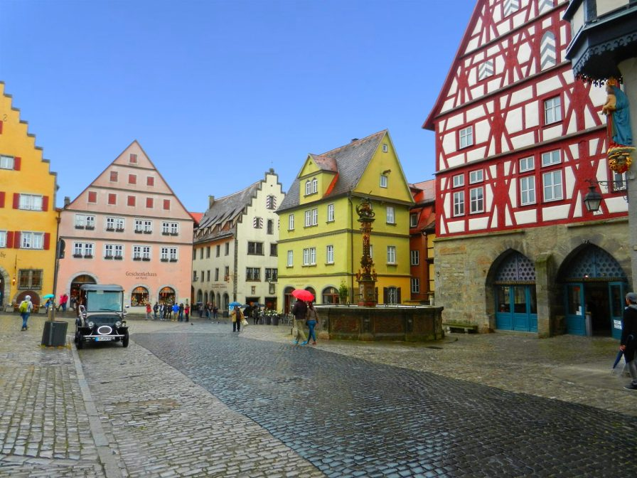 St. George Fountain in Market Square, Rothenburg, Germany