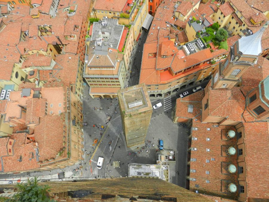 Piazza Ravegnana from the top of Asinelli Tower, Bologna, Italy