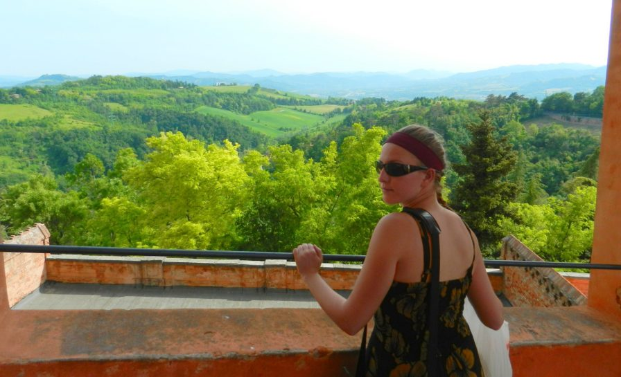 Ashleigh, view from Sanctuary of the Madonna di San Luca, Bologna, Italy
