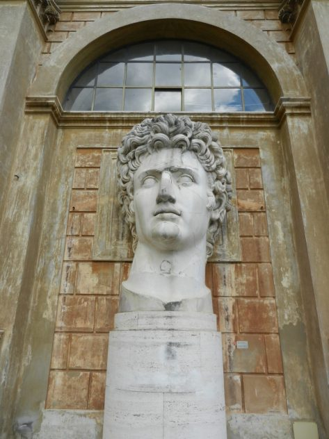 Colossal head of the Emperor Augustus, Pinecone Courtyard, Vatican, Italy