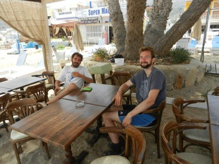 Michael and Nathanael, Stalida, Crete, Greece