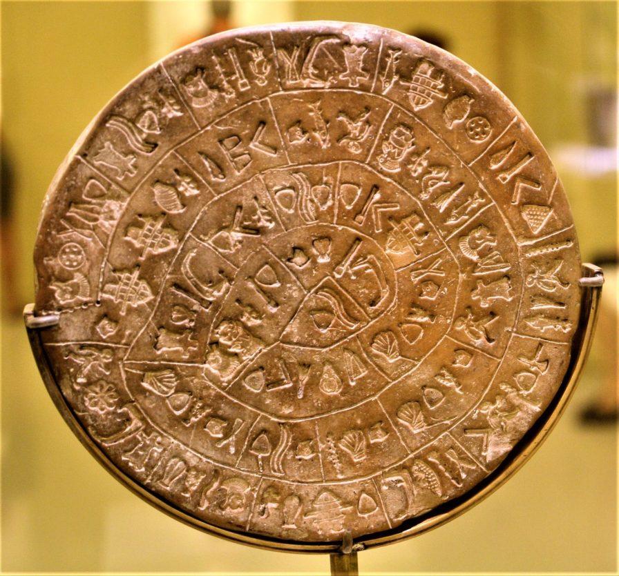 Crete Phaistos disk side B, Minoan script