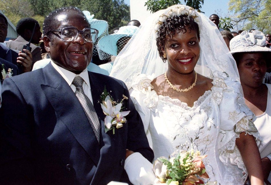 President Robert Mugabe and Grace at their wedding in 1996.
