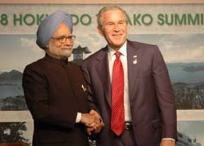 The Prime Minister, Dr. Manmohan Singh meeting with the President of United States, Mr. George W. Bush on the sideline of G-8 summit, in Toyako, Japan on July 09, 2008