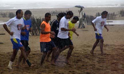 Indian (Goa) team praticing in rains at miramar during the camp