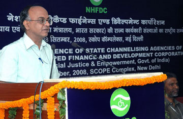 The Secretary, Ministry of Social Justice & Empowerment, Shri K.M Acharya addressing at the National Conference of State Channelizing Agencies (SCA's) organized by National Handicapped Finance and Development Corporation, in New Delhi on September 18, 2008.